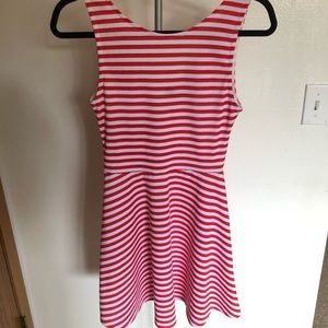 Red & white striped skater dress
